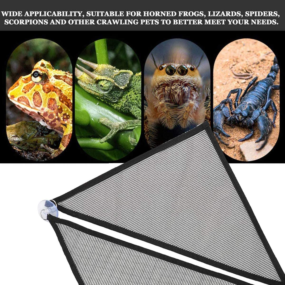 Reptile Hammock Kit Accessories Triangular Hanging Net Breathable Hammock Lounger with Suction Cups Artificial Hanging Vines Plants Reptile Leaves for Bearded Dragon Lizard Chameleon Habitat Black