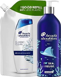 Head & Shoulders Shampoo Antiforfora Classic Clean, Combatte Forfora Prurito e Capelli Grassi, Bottiglia Ricaricabile senz...