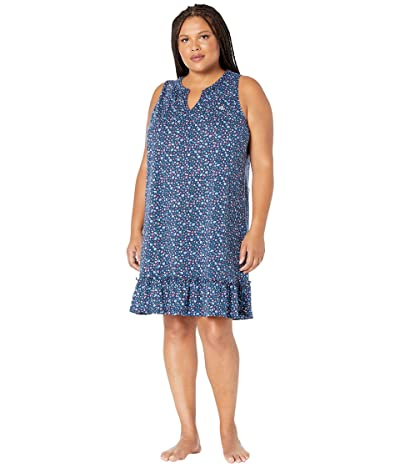 LAUREN Ralph Lauren Plus Size Sleeveless Gown with Flounce Hem (Navy Print) Women