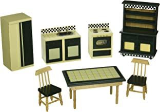 Melissa & Doug Doll-House Kitchen Furniture (Set of 7), Buttery Yellow/Deep Green