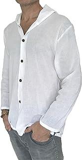 Love Quality Men's Hoodie Button Down Hippie Shirts Beach 100% Soft Cotton Top Yoga Shirt