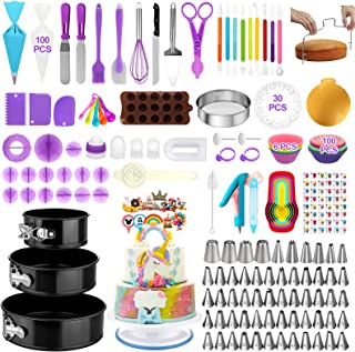 کیک لوازم تزئینی کیک 380 عدد ، وسایل پخت کیک - 3 بسته کیک تابه ای کیک چرخشی چرخان چرخشی کیک 48 عدد لوله ای شماره نکات 4 نازل روسی 8 ابزار Fondant برای مبتدیان