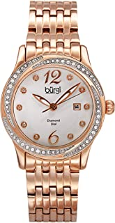 Women's Crystal and Diamond Watch - Crystal Filled Bezel 10 Diamond Hour Markers with Date Window on Stainless Steel Bracelet - BUR102