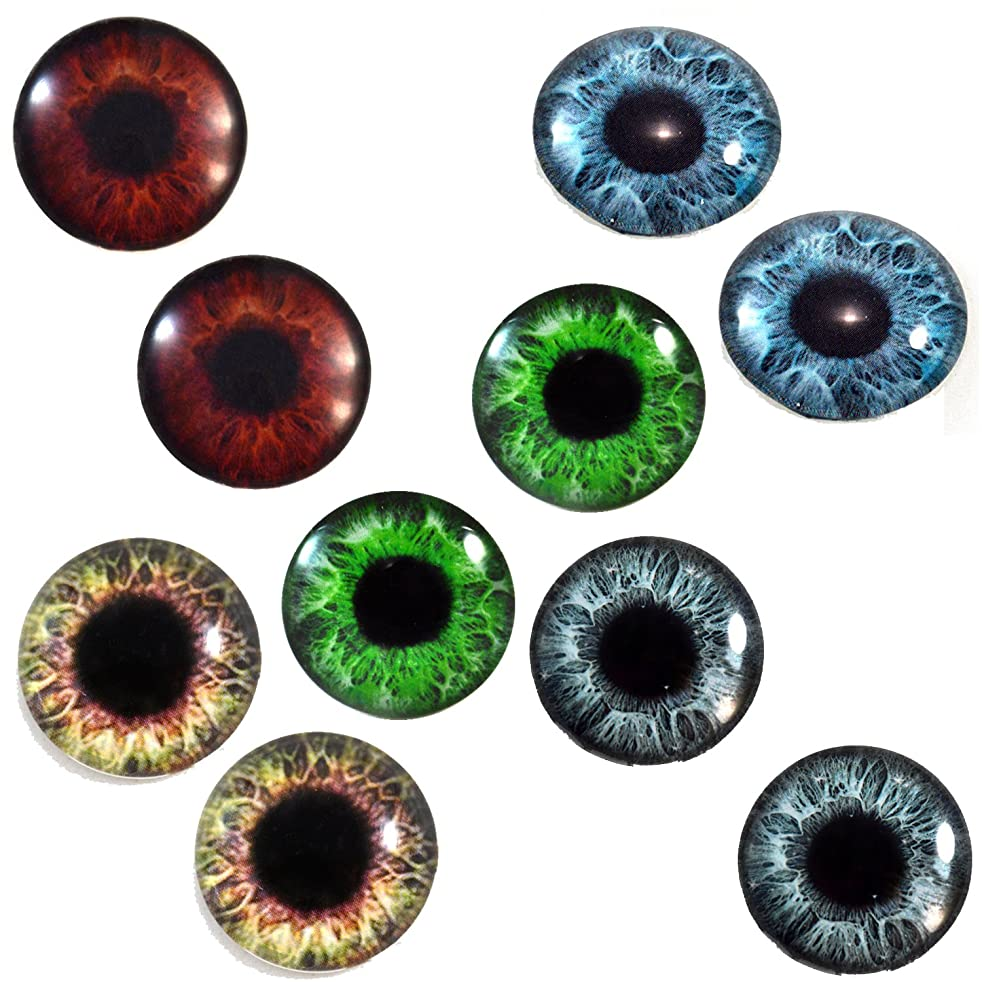 30mm Human Eyes Wholesale Glass Eye Doll Cabochons for Jewelry Sculptures or Craft Making 5 Pairs Bulk Lot