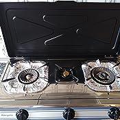 Orbegozo FO 3500 - Hornillo a gas de acero inoxidable, gas butano o propano, encendido piezoeléctrico, dos quemadores de triple corona y un quemador ...