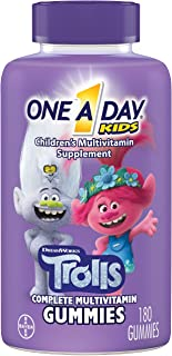 One A Day Kids Trolls Multivitamin Gummy, 180 Count, with Vitamins A, B6, B12, C, D, and E, Zinc, Folic Acid, and Biotin (...