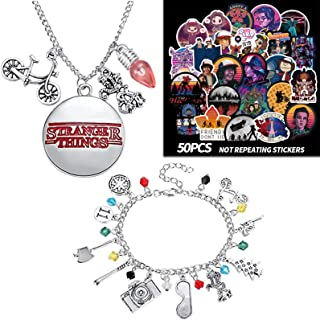 50 Pcs Stranger Things Themed stickers, Stranger Things Necklace Keychain Bracelets ST Merchandise Charm Jewelry Alphabet ...