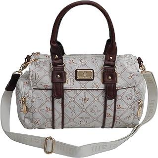 Damentasche von Giulia Pieralli - Damen Glamour Handtasche Handbag Tasche Henkeltasche Bowling Tasche Umhängetasche (Weiß-...
