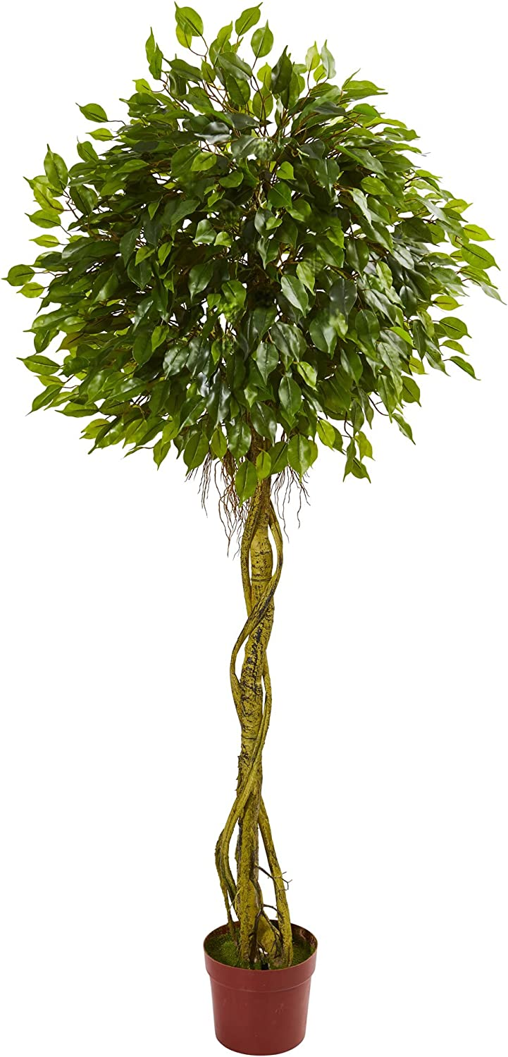 Nearly Natural Sales Artificial Uv Resistant Topiary 6' Ficus Large special price 1 Green