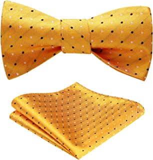 Men's Polka Dot Wedding Party Self Bow Tie Pocket Square Set