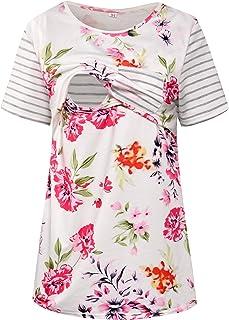 Women's Striped Breastfeeding Tops Floral Print Short Sleeve Maternity Nursing Shirts