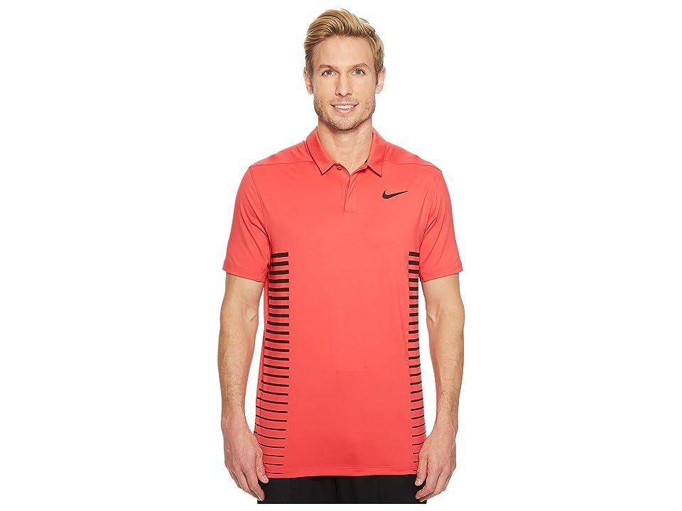 Nike Golf Zonal Cooling Print Polo (Tropical Pink/Gym Red/Black/Black) Men