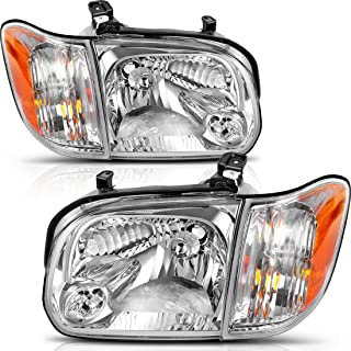 Headlight Assembly for 05 06 Toyota Tundra Double/Crew Cab, 05 06 07 Sequoia Headlamp Replacement, Chrome Housing Clear Lens