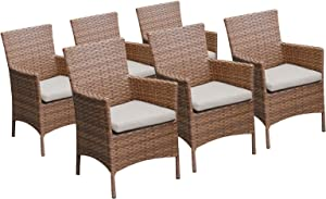 TK Classics 6 Laguna Dining Chairs with Arms Beige