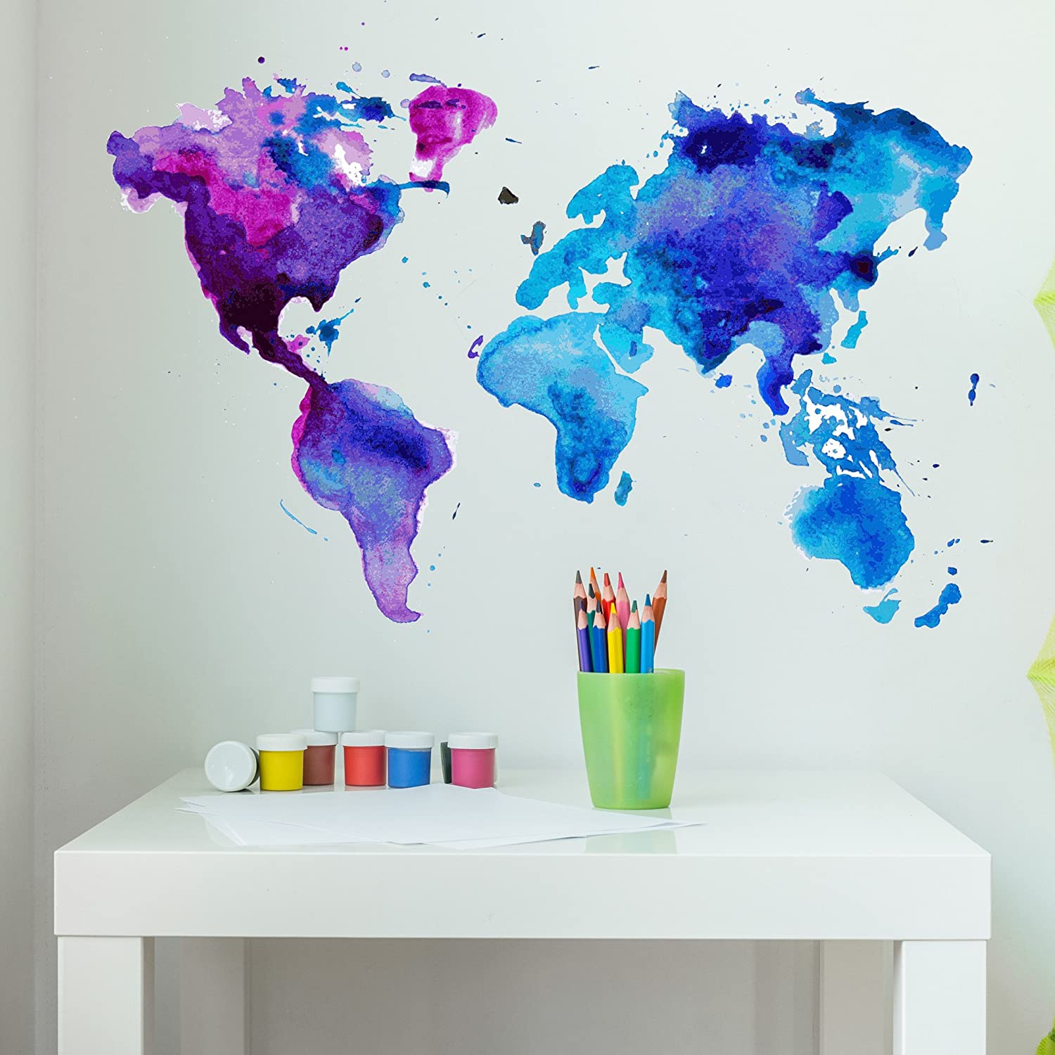 Style Apply Watercolor World Map Wall Decal Wall Sticker Vinyl Wall Art Home Decor Wall Mural Sd3071 0 24x17 Home Kitchen