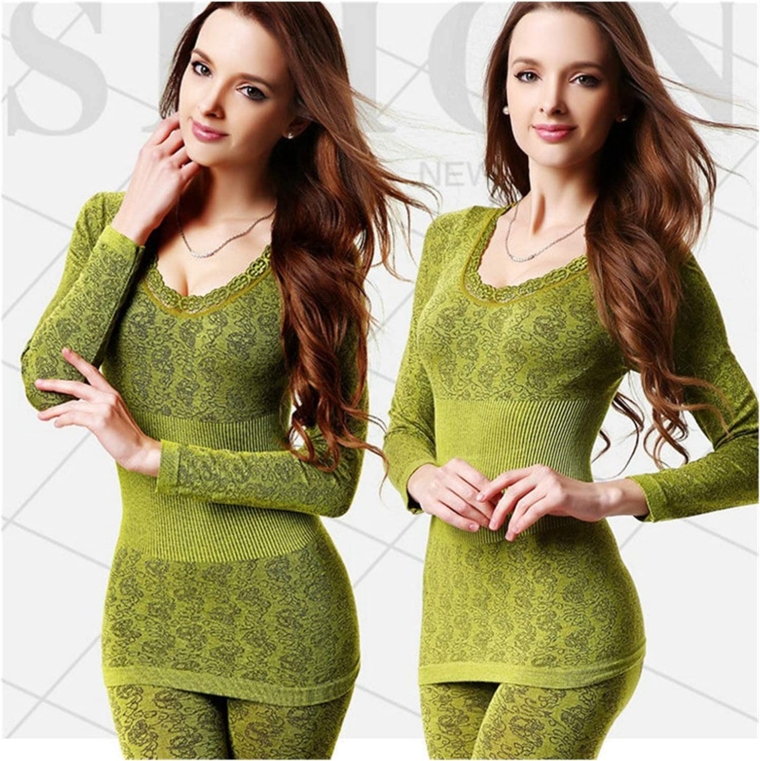 Sexy Women Thermal Underwear - Elastic High Neck Long Underwear Comfortable Hot Tops + Pants Underwear Set (Color : Green, Size : One Size)