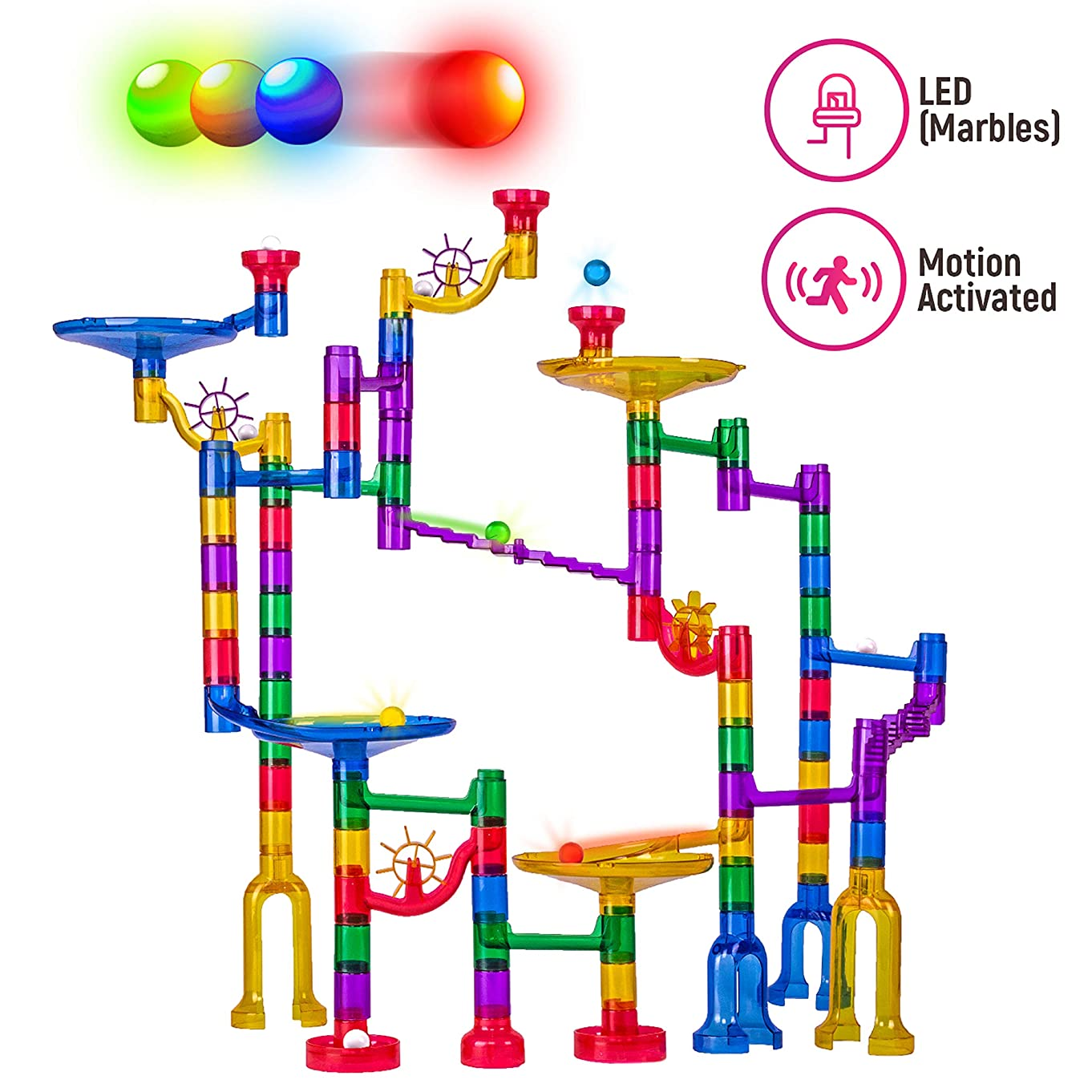 Thinkbox Toys Marble Race Game -LED Marbles Light Up This Marble Run Sets for Kids - STEM Toy or Gift for Boys and Girls - Impact Resistant BPA Free Building Blocks for Fun Friendly Learning and Play v23024853