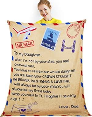 Air Mail Blanket to My Daughter- Letter Printed Sherpa Fleece Blanket Quilts Comfortable Wrap Tapestry Encourage & Love M