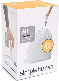 simplehuman Code Q Custom Fit Drawstring Trash Bags, 50-65 Liter / 13-17 Gallon, 3 Refill Packs (60 Count)