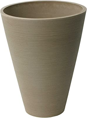 Algreen 16829 Round Taper Ribbed Planter, Taupe