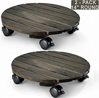 LITADA Acacia Wood Plant Caddy (Set of 2) Plant Dolly Heavy Duty, 14 inches Round Planter Trolley with Lockable Casters, Indoor Outdoor Rolling Tray Coaster Flower Pot Move