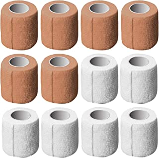 AxeSickle 2 Inch X 5 Yards Self Adherent Wrap 12 Pack Self Adhesive Tape Cohesive Bandage Tape Strong Elastic Sports Tape for Wrist Stretch Athletic Tape for Ankle Sprains and Swelling, Brown, White.