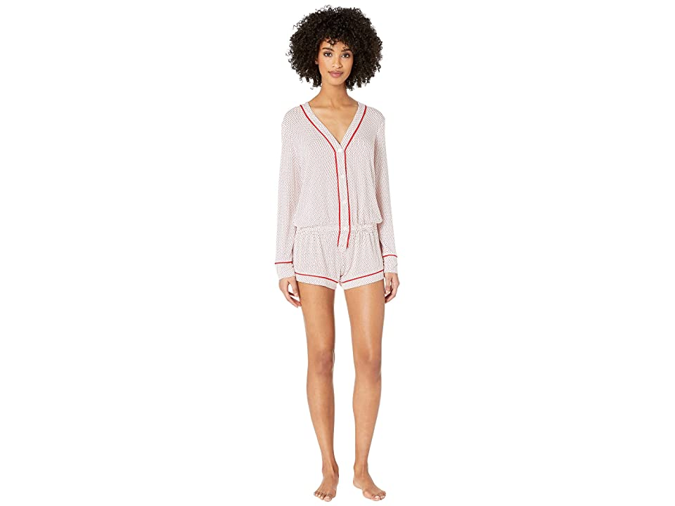 Eberjey Geo Dots The Long Sleeve Teddy (White/Racing Red) Women