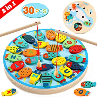Lewo 2 en 1 Juego de Pesca 30 PCS Alfabeto Magnético de Madera Carta de Pesca Juguetes para 3 4 5 Años de Edad Niñas Niños Pequeños Cumpleaños Aprendizaje Educación Juguetes