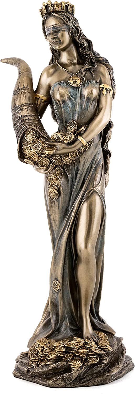 Top Collection Blindfolded Fortuna Statue Holding Horn of Plenty - Ancient Greek Roman Goddess of Fortune and Luck Sculpture in Cold Cast Bronze - 11.25-Inch Tyche Figurine