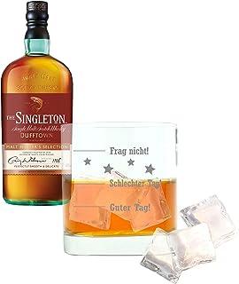 Whiskey 2er Set, Singleton Of Dufftown Malt Master, Whisky, Scotch, Alkohol, Alkoholgetränk, Flasche, 40%, 700 ml, 737435, Geschenk zum Vatertag, mit graviertem Glas
