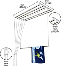 Homwell Deluxe Stainless Steel UV Protected Individual Dropdown Nylon Ropes Ceiling Clothes Hanger Roof Mount Cloth Dryer, 6 Pipe x 4ft (Light Blue)
