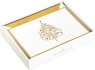 Hallmark Signature Boxed Christmas Cards, Gold Tree (10 Christmas Cards with Envelopes)