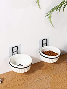 Raised Cat Ceramic Bowl,Wall Mounted Elevated Pet Feeding Dishes,Adjustable Cat Bowls for Food and Water,No Spill Water Bowl for Puppy,Single Bowl with Metal Stand,Easy Hanging Pet Bowls