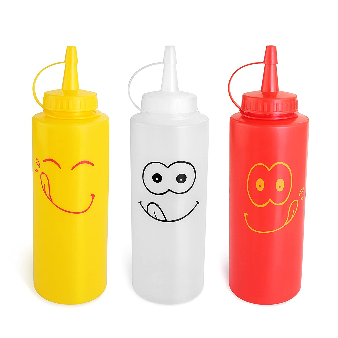 New Star Foodservice 28560 Smiley Faces Squeeze Bottle Set, Plastic, Red, Yellow, and Clear, 12 oz