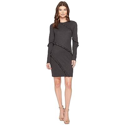 Nicole Miller Asymmetrical Ruffle Dress (Charcoal Heather) Women