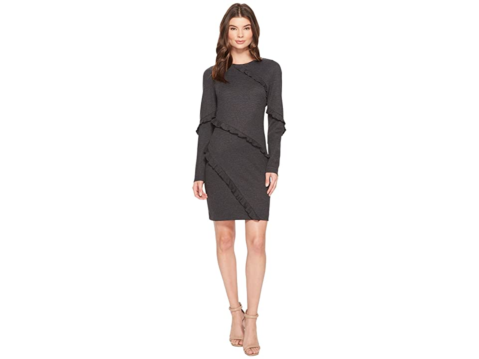 Nicole Miller Asymmetrical Ruffle Dress (Charcoal Heather) Women