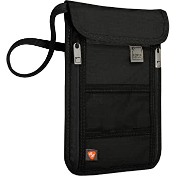 Lewis N. Clark Women's RFID Blocking Stash Neck Wallet, Travel Pouch Passport Holder for Women & Men, Black, One Size