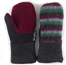 product image for Jack & Mary Designs Handmade Kids Fleece-Lined Wool Mittens, Made from Recycled Sweaters in the USA (gray/red/green, Small)