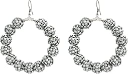 Rhodium/Silver Resin Beads Circle Fishhook Earrings