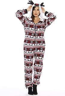 Just Love Holiday Reindeer Adult Onesie Pajamas