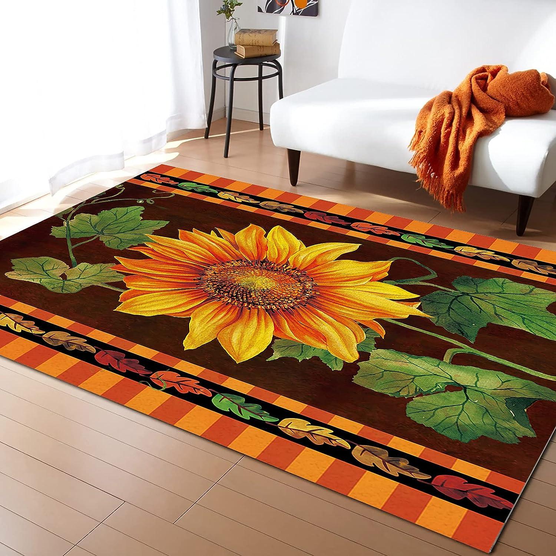 LEOSUCRE Large Area Rugs 2' x Sunflowers 3' Autumn Seasonal Wrap Introduction Leaves Green Import