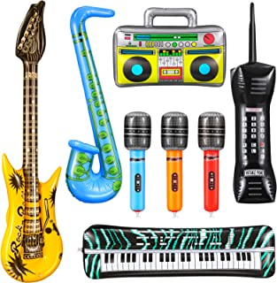 8 Pieces Inflatable Rock Star Toy Set Music Inflatable Instr
