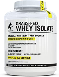 Verum Labs Grass Fed Whey Protein Isolate: Undenatured and Cold-Processed, 0g Fat, 1g Carbs, 5lb, Non-GMO, ...