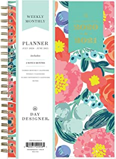 "Day Designer for Blue Sky 2020-2021 Academic Year Weekly & Monthly Planner, Flexible Cover, Twin-Wire Binding, 5"" x 8"", Floral Sketch"