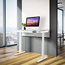 """Seville Classics airLIFT Computer Desk Table, 47"""" Height Adjustable, Tempered White Glass"""