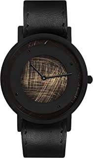 South Lane Stainless Steel Swiss-Quartz Watch with Leather Calfskin Strap, Black, 20 (Model: SS20-dr1-4684)