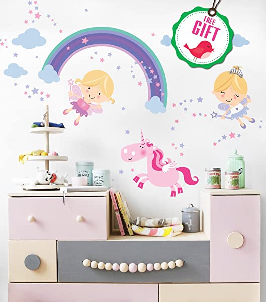 Fairy Unicorn Baby Girl Room D Cor Stickers Princess Playroom Wall Decals With Free Gift