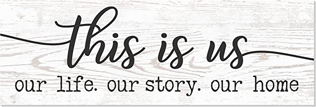 This is Us Our Life Our Story Our Home Rustic Wood Wall Sign 6x18 (White)