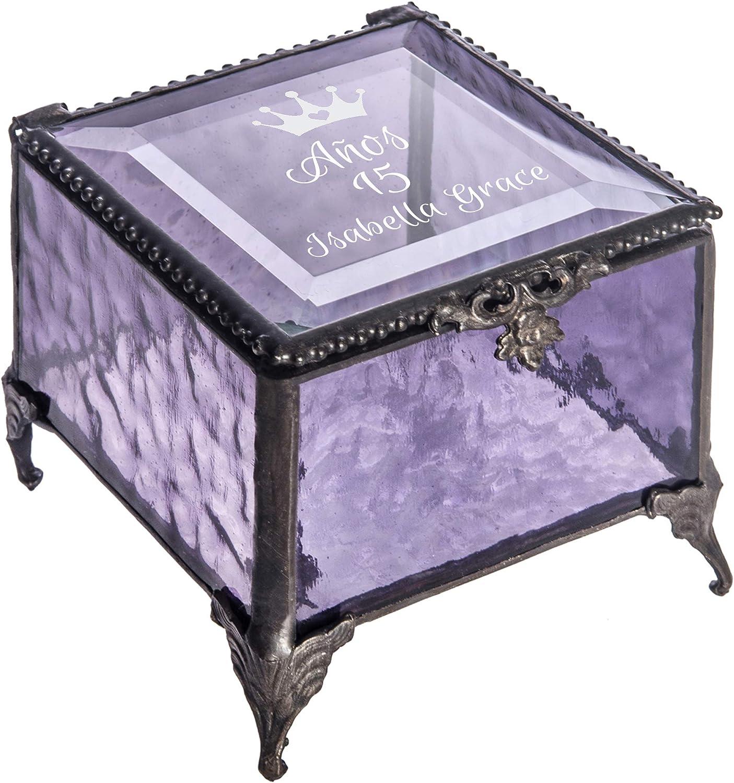 贈答 メーカー公式ショップ Personalized Quinceanera Jewlery Box Engraved Glass Keepsake