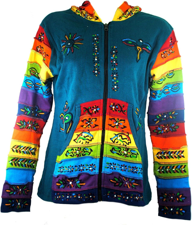 Terrapin Trading Womens Ladies Hooded Pixie Hippy Rainbow Festival Top (N91Sky Aqua)